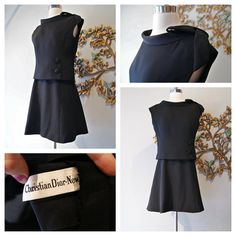 Vintage 60s Black Silk Dior Ensemble  Dress and by xtabayvintage, $398.00
