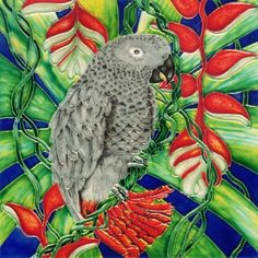 "Gray Parrot - Decorative Ceramic Art Tile - 8""x8"" by entiles.com. $27.99. Hang on the wall or display using the built-in easel / (use or)Tile can also be used as a decorative hot plate. Hand crafted art tile, then kiln-fired at high temperature, brilliantly colored, with complex glazes and unique textures. We make every effort to process your order within 24 hours & FREE Gift Box Included with purchase. Backing is removable enabling the tile to be installed as a..."