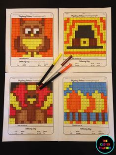 Thanksgiving Math! Students solve the multiplication or division equation in each box. Then, they color according to the coloring key. This is a FUN way to build math fluency! Each of the 4 pictures comes with 3 skill levels. NOTE: This store also has addition and subtraction mystery pictures for every holiday. $