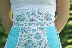Vintage Half Apron With Mock Bib and Blue by BdazzledScraps, $30.00