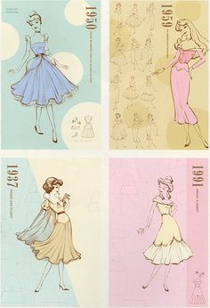 Disney princesses dresses changed to fit the era the movie was made.