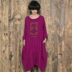 Women Cotton Linen Loose 3/4 Sleeve Dress