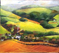 Polbathic, Cornwall landscape painting, Oil on board