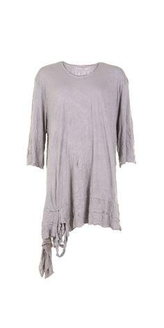 Barbara Speer Grey Crinkle Jersey Asymmetric Tunic
