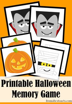 Printable Halloween Memory Game - From ABCs to ACTs halloween educational Fun Halloween Games, Halloween Class Party, Holidays Halloween, Halloween Kids, Halloween Themes, Halloween Crafts, Preschool Halloween, Fall Preschool, Kindergarten Fun