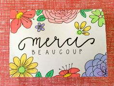 French thank you card merci beaucoup hand lettering watercolor by aliveletter, $3.00
