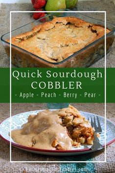 This simple biscuit-crust cobbler uses sourdough starter (or discard) for a unique and flavourful topping! The recipe includes 5 different fruit flavours: apple cinnamon, ginger peach, vanilla pear, mixed berry and strawberry rhubarb. Sourdough Starter Discard Recipe, Sourdough Recipes, Sourdough Bread, Sourdough Pie Crust Recipe, Cobbler Dough Recipe, Bread Recipes, Pear Cobbler, Fruit Cobbler, Blueberry Cobbler