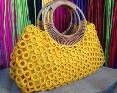 Beautiful Boho Red Crochet Bag With Nylon Lining Top zipper   Etsy