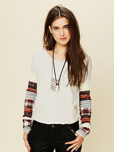 Free People Women's Contemporary We the Free Striped Angel French Terry Patch Up Sleeve Pullover #VonMaur