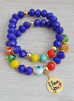 PULSERAS : JUEGO I LOVE YOU Handmade Beaded Jewelry, Handmade Bracelets, Earrings Handmade, Hippie Bracelets, Jewelry Bracelets, Sugar Skull Jewelry, Costume Jewelry Rings, Beaded Bracelets Tutorial, Bracelet Making