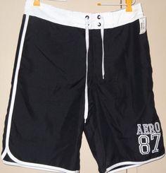Aeropostale A87 Mens Size M Black White 1987 Bathing Suit Elastic Shorts New NWT #Aropostale #Trunks