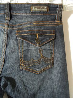 BU Malibu JEANS womens 1 Dark wash Flap pocket Low rise Boot western (29x32) HOT #BU #bootcutwesterndistressedflappocketmetro