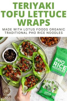 These flavorful, fresh and tasty lettuce wraps are quick to make and easily customizable. Here, they're filled with rice noodles, sticky teriyaki tofu and bell peppers for a delicious, filling meal. #pho #noodles #lettuce #vegan Tofu Wraps, Ramen Noodle Bowl, Vegetarian Wraps, Teriyaki Tofu, Food Inc, Food Website, Rice Noodles, Easy Meals