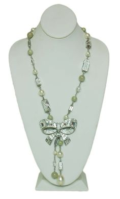 CHANEL Pearl Necklace with Rhinestones & Bow