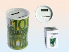 Spardose Sparbüchse Metall mit 100 Euroschein Motiv mit Zählwerk für Münzen