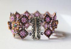 Hand Beaded Cuff style Bracelet with Swarovski by pjlacasse, $150.00