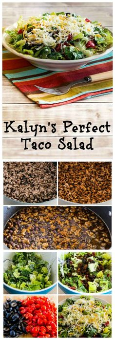 There are endless good versions of Taco Salad, but this recipe for Kalyn's Perfect Taco Salad is one that I've been making over and over for years, and when I'm trying to drop a few pounds, this salad is something that will always be on the menu!  #LowCarb #GlutenFree