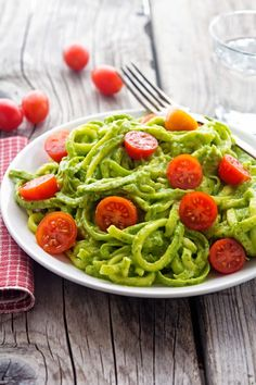 Creamy Avocado Pesto Zoodles, I love this idea (uk call the noodles corgetti ; spaghetti made from corgettes!)