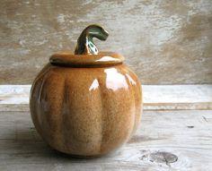 Pumpkin Jar Wheel Thrown Pottery by AntB on Etsy, $40.00