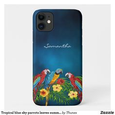 Tropical blue sky parrots leaves summer name iPhone 11 pro case Iphone 11 Pro Case, Iphone Cases, Day Up, Parrots, White Elephant Gifts, Plastic Case, Apple Iphone, Tropical
