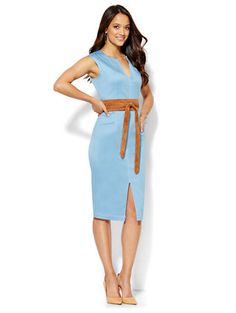 Shop Topstitched Sheath Dress - Light Blue . Find your perfect size online at the best price at New York & Company.
