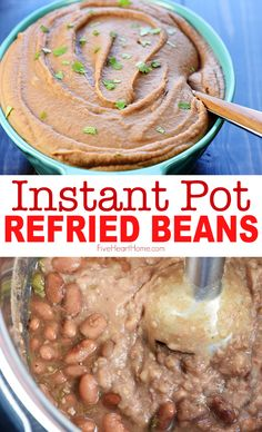 Instant Pot Refried Beans are creamy, flavorful, and effortless to make in the pressure cooker…a perfect side dish for all of your favorite Mexican recipes! mexican recipes INSTANT POT REFRIED BEANS ~ so creamy & delicious! Instant Pot Pressure Cooker, Pressure Cooker Recipes, Pressure Cooking, Pressure Cooker Refried Beans, Cooking Recipes, Healthy Recipes, Cooking Stuff, Blender Recipes, Cooking Chef