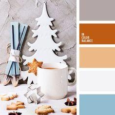 anaranjado, azul celeste, celeste, color gris hormigón, colores del Año Nuevo, gris, gris claro, marrón, marrón anaranjado, marrón grisáceo, paleta de colores navideños, paleta de la Navidad, selección de colores para el Año Nuevo.