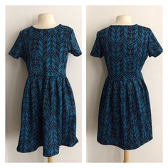 """(Plus) Chevron print dress Blue/ black dress. The bottom half is very roomy and the top half has a bit of stretch. 96% polyester/ 4% spandex. True to size. Dress shown in photos is size 1x. Bust stretches well beyond each measurement. May require a slip.  1x- L: 36"""" • B: 38"""" 2x- L: 37"""" • B: 40"""" 3x- L: 38"""" • B: 42"""" 1x•2x•3x • 2•2•2 Price is firm unless bundled. No trades ⭐️This is a retail item. It is brand new either with manufacturers tags, boutique tags, or in original packaging. Dresses"""