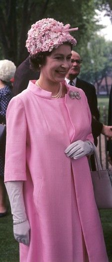 Queen Elizabeth II in 1967- Fantastic outfit in 1967!  She looked just as wonderful today in sea foam green for her Diamond Jubilee (2012)- Repinned for image only- RRM