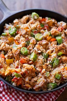 This bold and spicy Cajun chicken and rice skillet is the perfect weeknight meal! It's packed full of flavor and is ready to go in just 30 minutes!