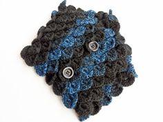 Black and Blue Neck Warmer Neck Warmer, Crochet Earrings, Handmade, Blue, Fashion, Moda, Hand Made, Fashion Styles, Fashion Illustrations