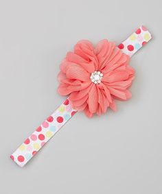This Pink Polka Dot Rhinestone Flower Headband by Charlotte Rose Couture is perfect! #zulilyfinds