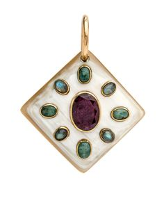 """Ashley Pittman Light Horn with Ruby Pendant Light horn bronze bezel set pendant Center ruby stone Bezel set labradorite 2.875"""" drop 2.25"""" X 2.5"""" 0.375"""" thick Horn color and pattern may vary   Ashley Pittman donates 10% of all profits to help fund a rural health center and primary school in Kenya."""
