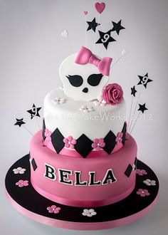 Currently popular with you girls, this 9th birthday cake is designed around the Monster High theme and includes the school logo.. a skull?! Related