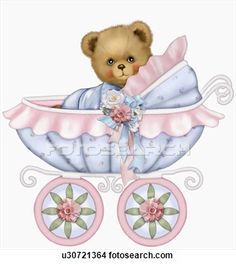 Illustration of Baby teddy bear boy in baby carriage