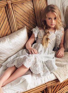 Nellystella Elina Dress in Cotton Striple Blue & Ecru Little Girl Models, Cute Little Girl Dresses, Cute Young Girl, Beautiful Little Girls, Cute Girl Outfits, Cute Little Girls, Child Models, Flower Girl Dresses, Kids Outfits