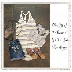 #ootd #outfitoftheday @freepeople tank top and bralette @bigstardenim shorts @monab_lifestyle handbag @koledesign necklace #ericmichael sandals find it all @latida_boutique where #summerhasarrived ☀️