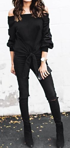 Black Shoulderless Sweater // Skinny Jeans // Black Ankle Boots Source