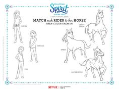 Spirit Riding Free Character Match Coloring Page