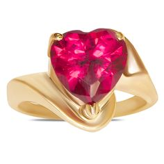 Created Ruby Heart Ring in 10k Yellow Gold - Jewelry Deals 80% OFF + $25 OFF extra discount on purchases $500 & UP ! Enter PINPROMOT coupon at CHECKOUT to get $25 OFF when you place your order @ NissoniJwelry.com