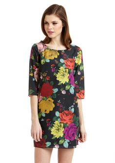 4f6c302fae6cfc TED BAKER Three-Quarter Sleeve Floral Print Dress Adventure Style