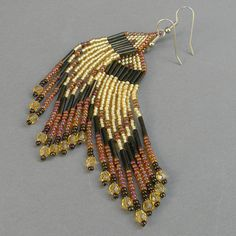 Gold and brown fringe beaded earrings by Anabel27shop on Etsy,