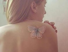 Pretty butterfly White Ink Tattoo with exquisitely soft pastels for Girls.- doubt this is a real tattoo but my gosh it's beautiful! Tatoo 3d, Real Tattoo, 3d Tattoos, Love Tattoos, Body Art Tattoos, White Ink Tattoos, Tattoo Small, White Tatto, Tattoo Ribs