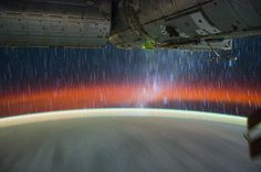 star trails from international space station