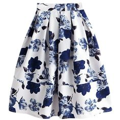 'Courtney' Floral Midi Skirt ($49) ❤ liked on Polyvore featuring skirts, floral skirt, floral print midi skirt, floral printed skirt, flower print midi skirt and floral print skirt