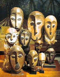 Masks-around-world: AFRICA  Made of wood  They are used in religious and social events to represent the ancestors and control forces of good and evil.  They unite people with nature.