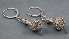 Antigüedades: Pareja pendientes calabaza plata filigrana para novia maragatos charros finales S XVIII León Zamora - Foto 7 - 53858934