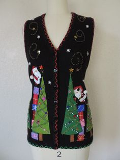 Santa by cricketcapers Tall Christmas Trees, Christmas Tree Decorations, Ugly Christmas Sweater Vest, Christmas Sweaters, Being Ugly, Santa, Blouse, Stuff To Buy, Vintage