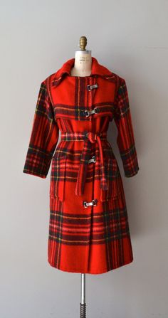 Kinetic Icelandic coat / 70s red plaid wool coat / by DearGolden, $144.00