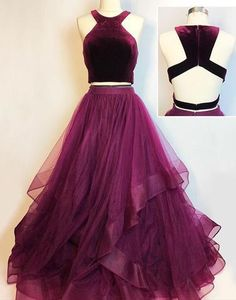 Two Pieces Prom Dress with Velvet Crop Top